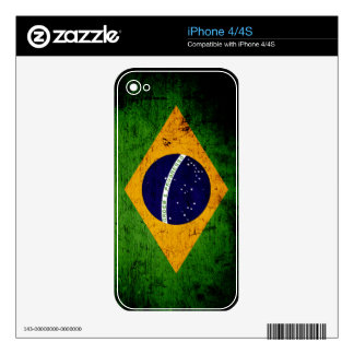 Black Grunge Brazil Flag Decals For iPhone 4