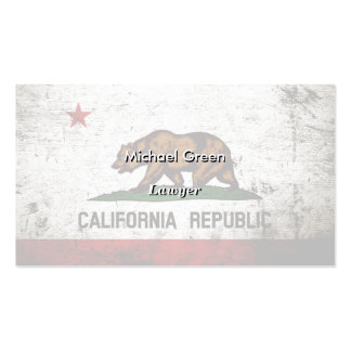 Black Grunge California State Flag Business Card
