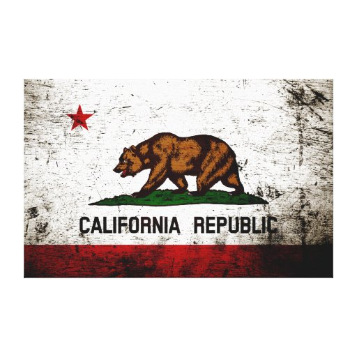 Black Grunge California State Flag Stretched Canvas Prints