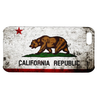 Black Grunge California State Flag Cover For iPhone 5C