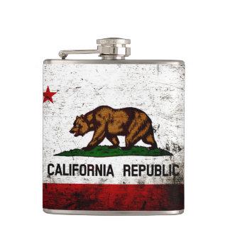 Black Grunge California State Flag Flask