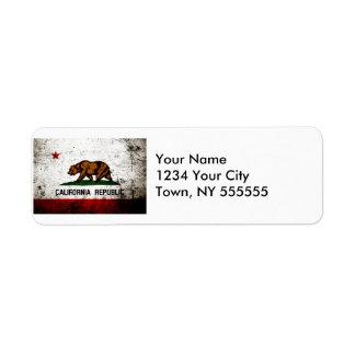 Black Grunge California State Flag Label
