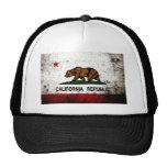 Black Grunge California State Flag Mesh Hat