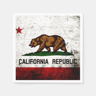 Black Grunge California State Flag Paper Napkin