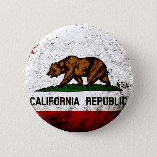 Black Grunge California State Flag Pinback Button