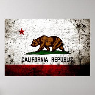Black Grunge California State Flag Poster