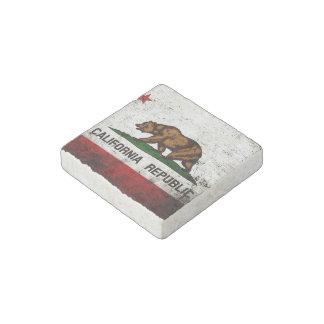 Black Grunge California State Flag Stone Magnet