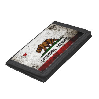 Black Grunge California State Flag Trifold Wallet