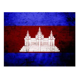 Black Grunge Cambodia Flag Postcard