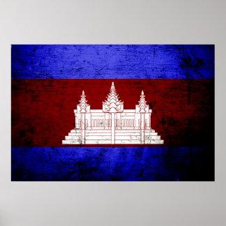 Black Grunge Cambodia Flag Poster