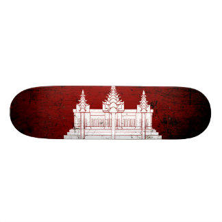 Black Grunge Cambodia Flag Skateboard Deck