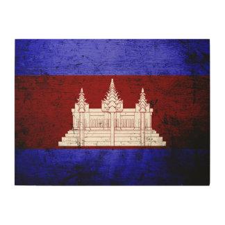 Black Grunge Cambodia Flag Wood Canvas