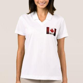 Black Grunge Canada Flag Polo T-shirt