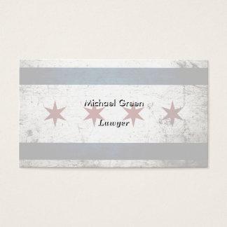 Black Grunge Chicago Flag Business Card