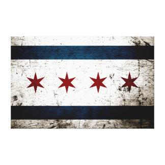 Black Grunge Chicago Flag Canvas Print