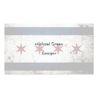 Black Grunge Chicago Flag Double-Sided Standard Business Cards (Pack Of 100)