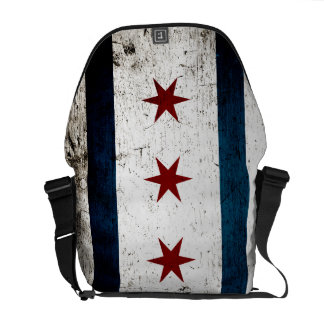 Black Grunge Chicago Flag Messenger Bag