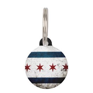 Black Grunge Chicago Flag Pet Name Tag