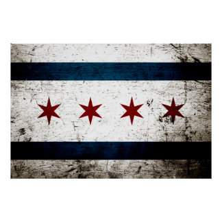 Black Grunge Chicago Flag Poster