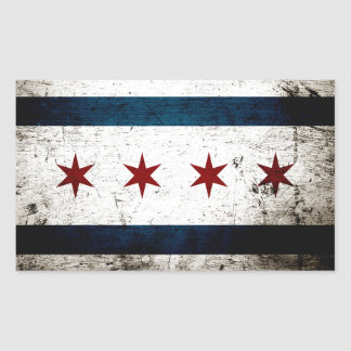Black Grunge Chicago Flag Rectangular Sticker