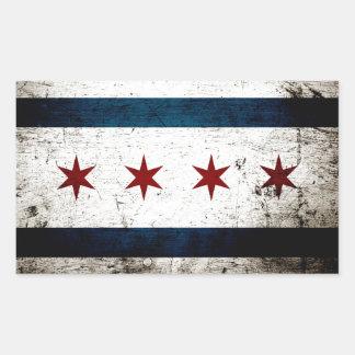 Black Grunge Chicago Flag Rectangular Sticker