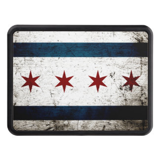 Black Grunge Chicago Flag Tow Hitch Cover