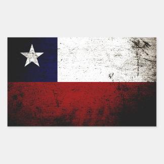 Black Grunge Chile Flag Rectangle Sticker