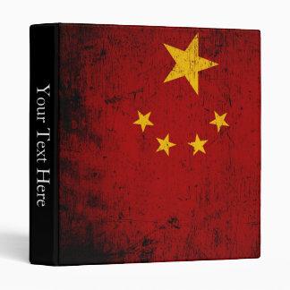 Black Grunge China Flag 3 Ring Binders