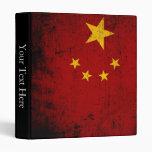 Black Grunge China Flag Vinyl Binder