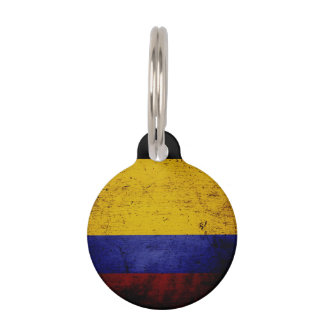 Black Grunge Colombia Flag Pet Name Tag