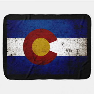 Black Grunge Colorado State Flag Baby Blanket