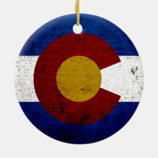 Black Grunge Colorado State Flag Ceramic Ornament