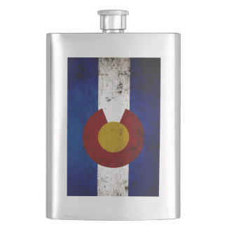 Black Grunge Colorado State Flag Hip Flask