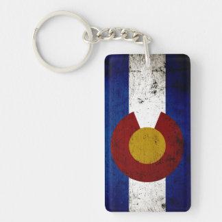 Black Grunge Colorado State Flag Double-Sided Rectangular Acrylic Keychain