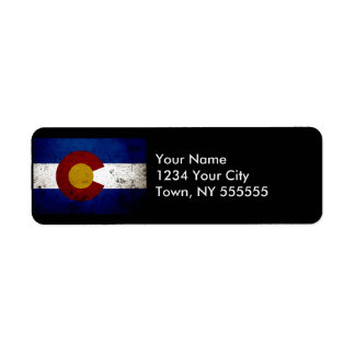 Black Grunge Colorado State Flag Label