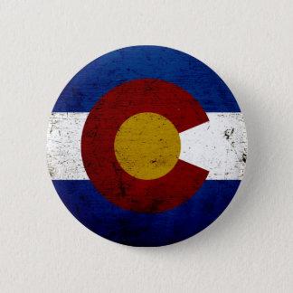 Black Grunge Colorado State Flag Pinback Button