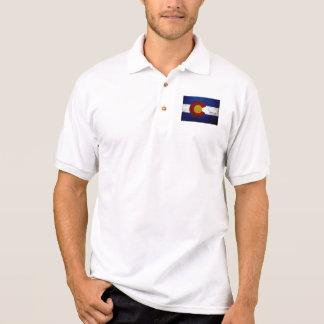 Black Grunge Colorado State Flag Polo Shirt