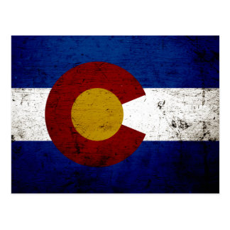 Black Grunge Colorado State Flag Postcards