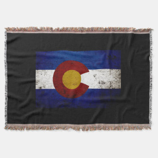 Black Grunge Colorado State Flag Throw