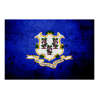 Black Grunge Connecticut State Flag Poster