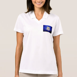 Black Grunge Connecticut State Flag Polo T-shirts