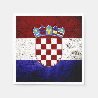Black Grunge Croatia Flag Paper Napkin