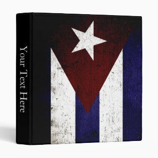 Black Grunge Cuba Flag 3 Ring Binder