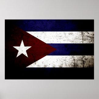 Black Grunge Cuba Flag Poster