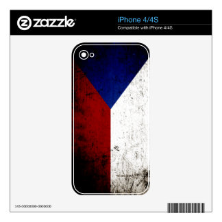 Black Grunge Czech Republic Flag Decal For The iPhone 4S
