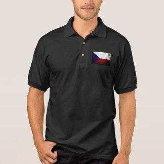 Black Grunge Czech Republic Flag Polo Shirt