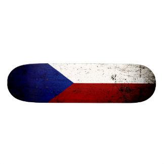 Black Grunge Czech Republic Flag Skateboard Deck