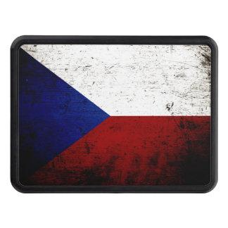 Black Grunge Czech Republic Flag Trailer Hitch Cover