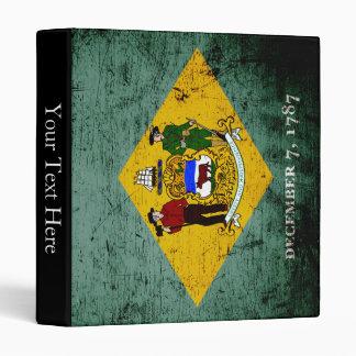 Black Grunge Delaware State Flag Binder