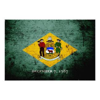 Black Grunge Delaware State Flag Photo